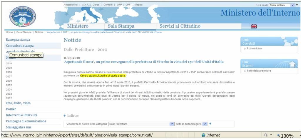 Comunicato stampa ministero dell 39 interno for Ministero dell interno
